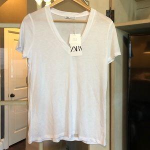White V Neck Zara Tee Tshirt Blouse